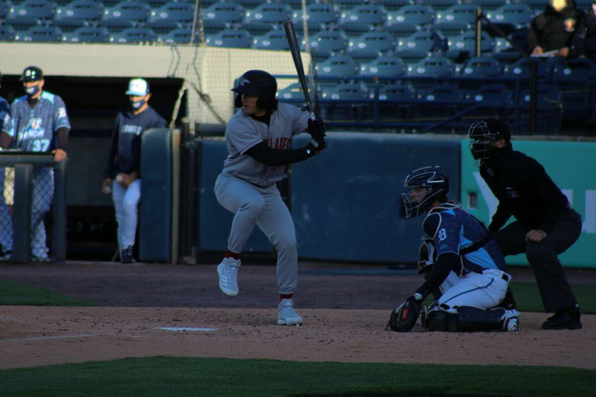 Loons centerfielder James Outman readies to swing against West Michigan at LMCU Ballpark on May 11in Comstock Park.