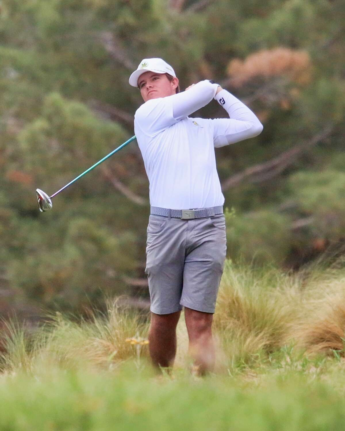 Midland College golfer Samual McKenzie is shown in action during the second round of the NJCAA National Tournament at The Rawls Course in Lubbock on Tuesday.