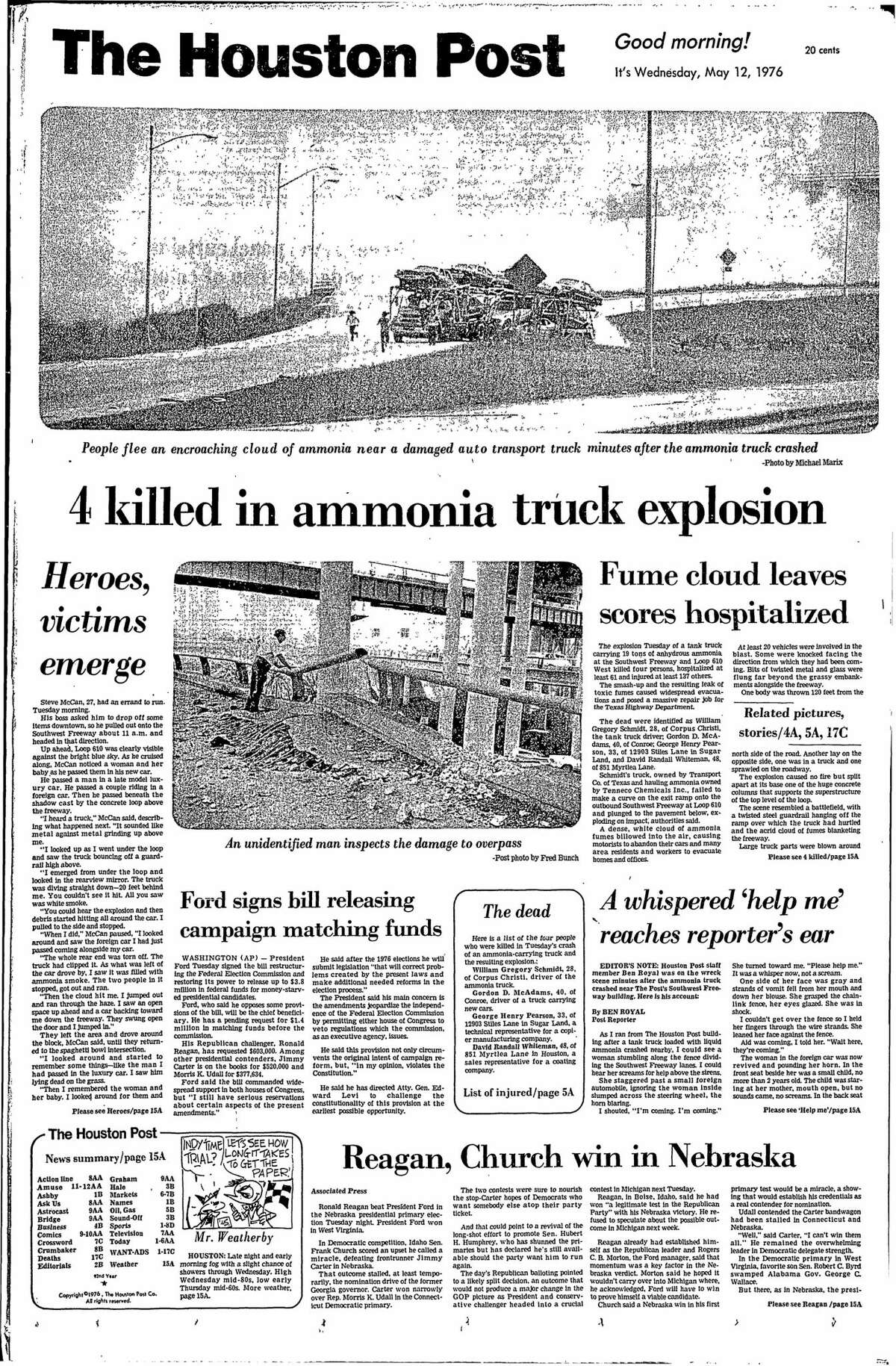 Houston Post front page from May 12, 1976.