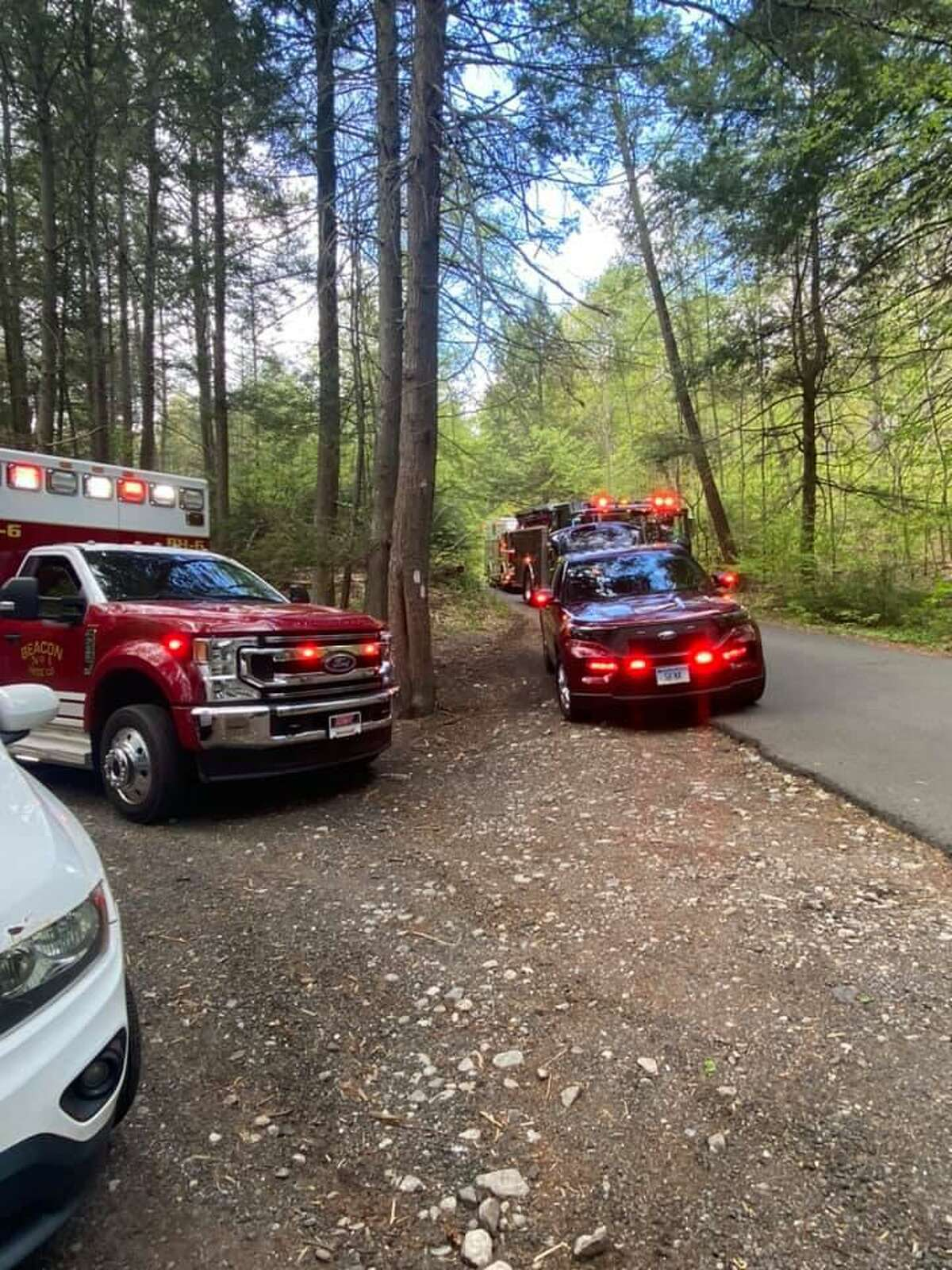 Crews at High Rock Park in Naugatuck, Conn., for a hiker rescue on Monday, May 10, 2021.