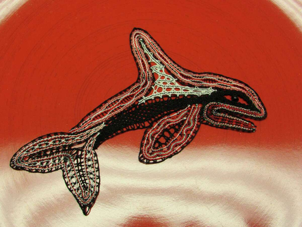 MidMichigan Lacemakers member Sandy Warner designed and made this whale during the COVID-19 pandemic. (Victoria Ritter/vritter@mdn.net)