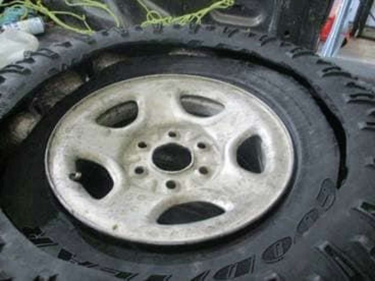 U.S. Border Patrol agents said they found cocaine and marijuana inside this spare tire during a secondary inspection on May 8 at the Interstate 35 checkpoint.