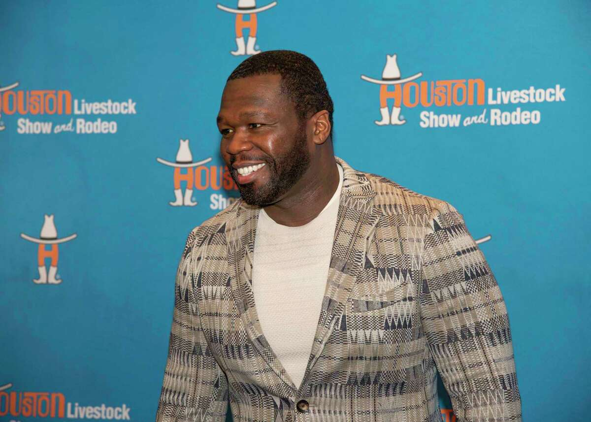 """Rapper Curtis """"50 Cent"""" Jackson at the 2021 Rodeo Uncorked! Champion Wine Auction on May 8. His Le Chemin Du Roi Brut champagne won the Reserve Grand Champion Best of Show at RodeoHouston's International Wine Competition."""