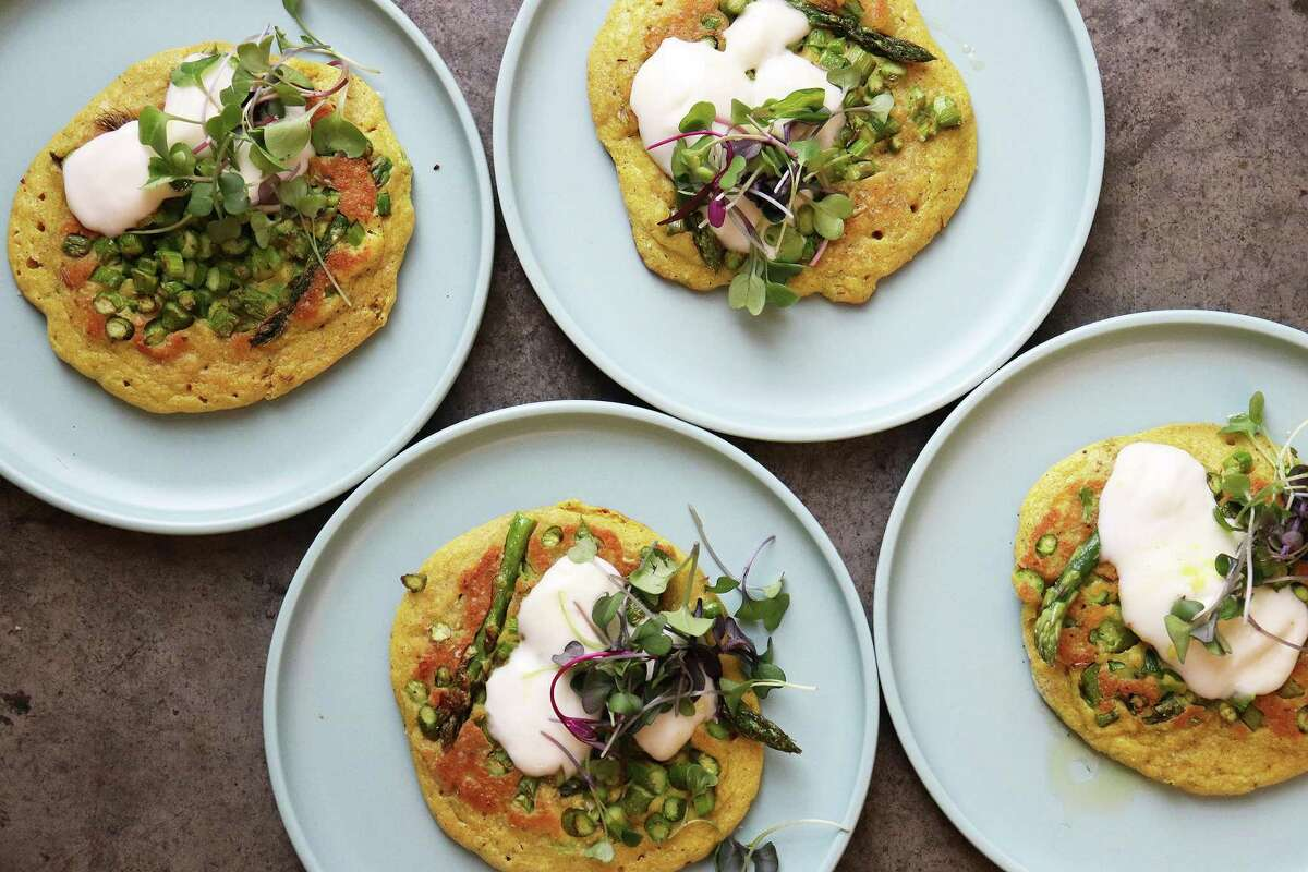 Feta and asparagus turn breakfast savory with this pancake recipe.