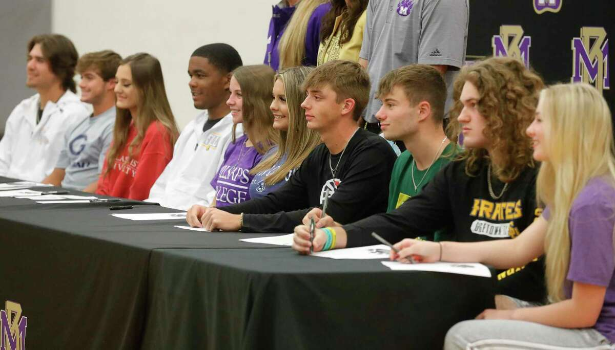 Ten athletes signed to play college athletics during a signing ceremony, Wednesday, May 12, 2021, in Montgomery.