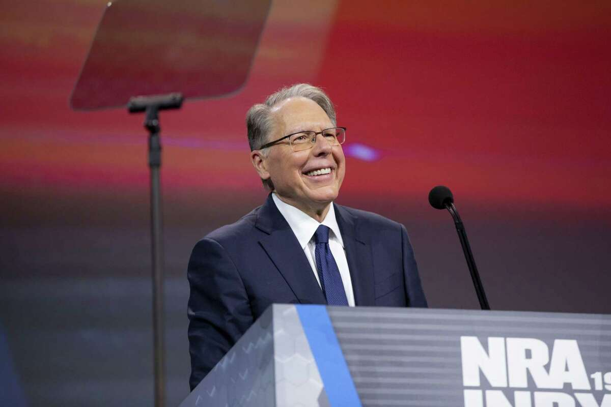 Wayne LaPierre, chief executive officer of the National Rifle Association, smiles during the NRA annual meeting of members in Indianapolis on April 27, 2019.