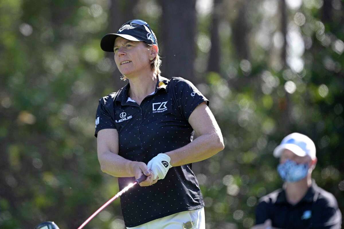Annika Sorenstam, of Sweden, watches her tee shot on the second hole during the final round of the Tournament of Champions tournament in January.