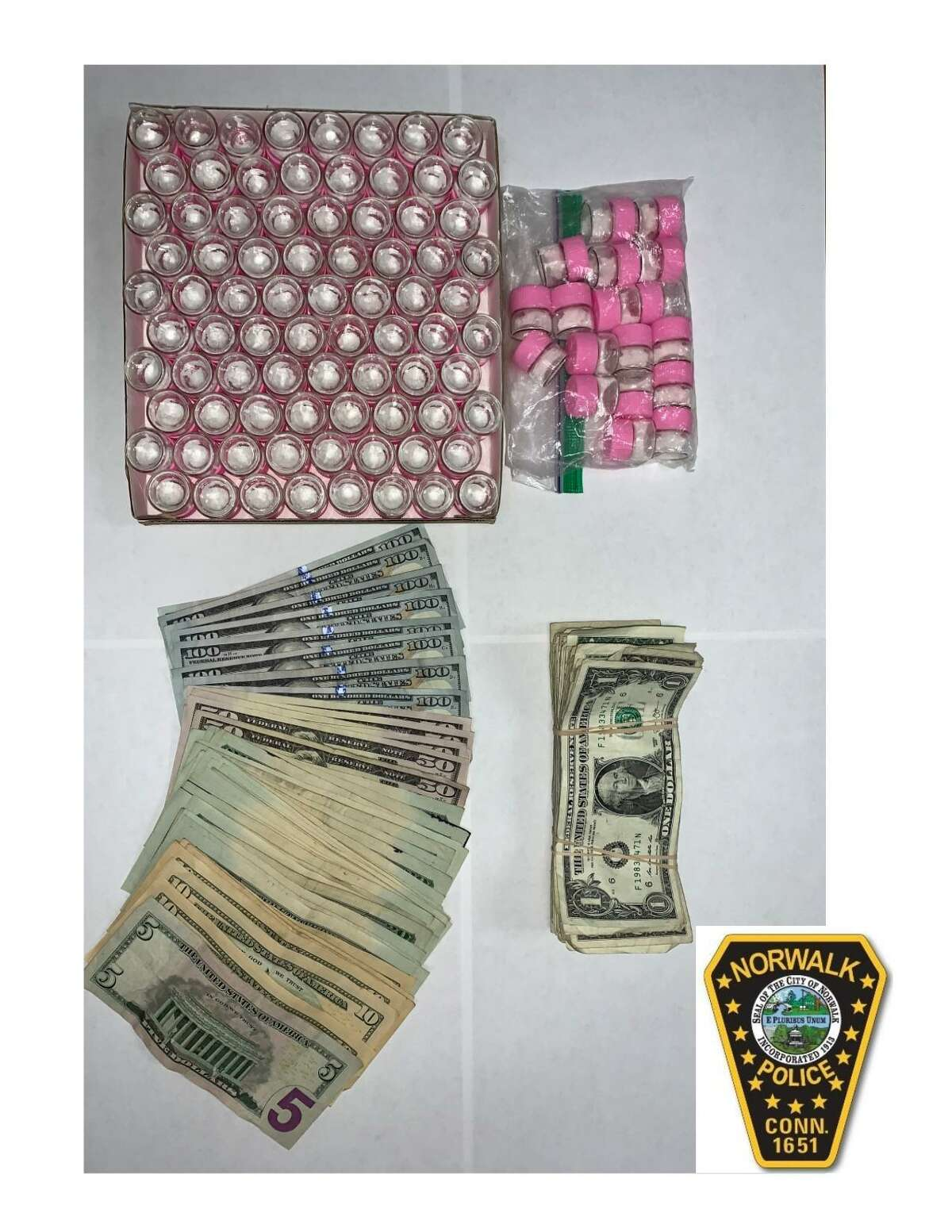 Police seized approximately $10,000 worth of powder cocaine and about $2,000 in United States currency from a South Norwalk residence on Tuesday, May 11, 2021.