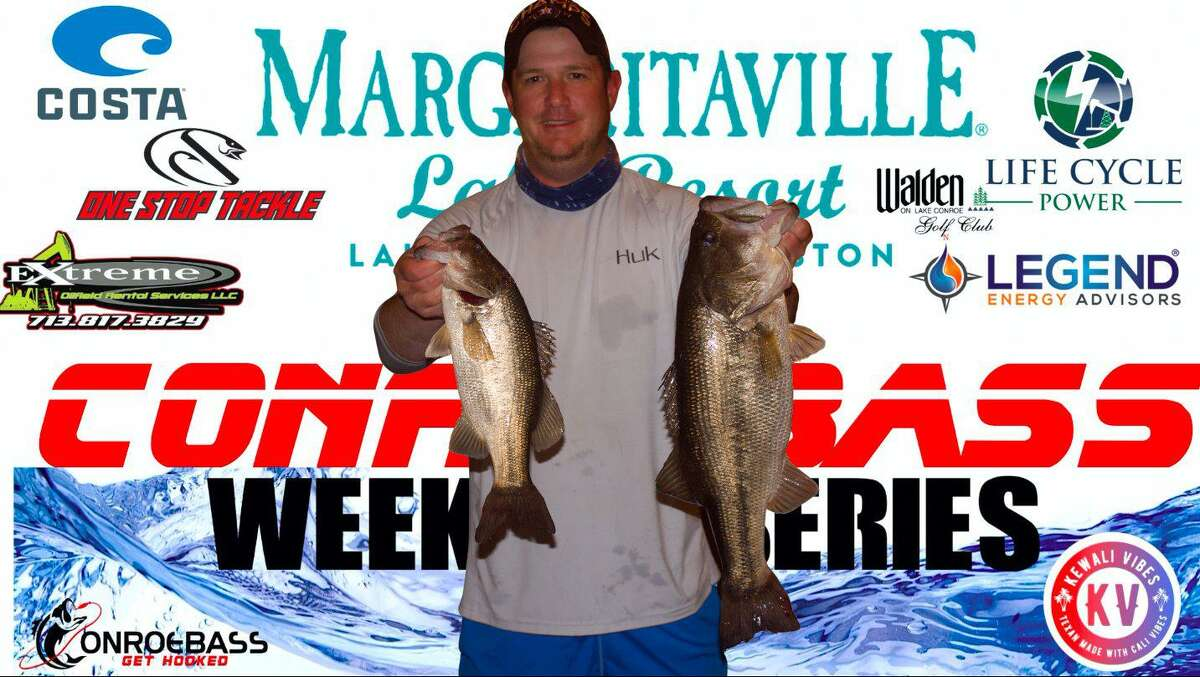 Aaron Self (pictured) and Kyle Edge came in fourth place in the CONROEBASS Tuesday Tournament with a total weight of 9.61 pounds.