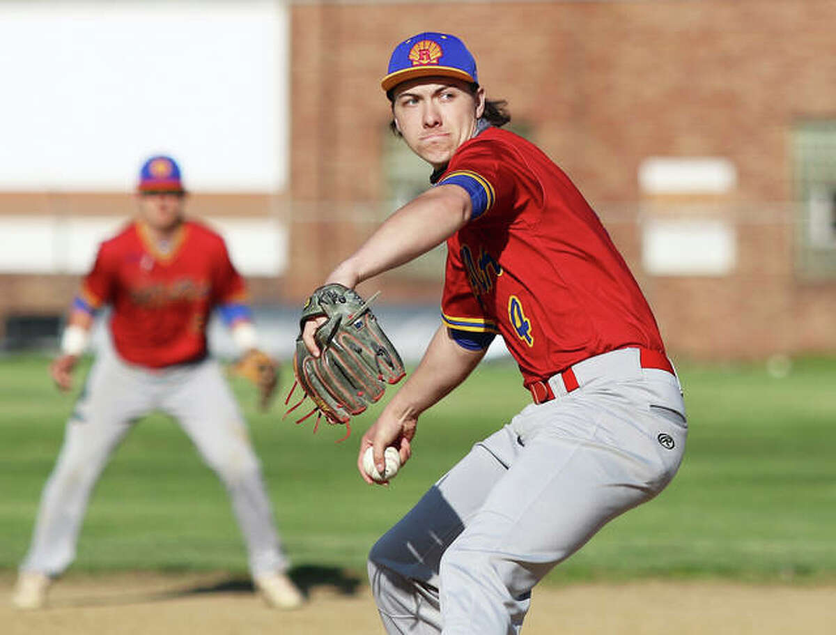 Roxana's Kaleb Hinkle-Pruett, shown pitching in a game earlier this season, drove in two innings and pitched in relief Tuesday in the Shells' victory at Columbia.