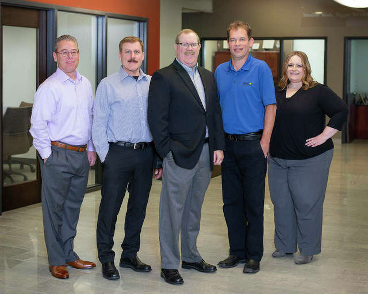 Bank of Belleville and its Divisional Banks members. (L to R): Wade Weitlauf, Kevin Pesko, Ron Stephens, Karl Abert, Jennifer Warren.