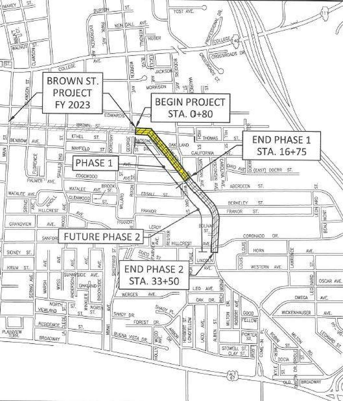 Alton officials are sharing a schematic view of planned work on Milton Road. The area of construction is marked.
