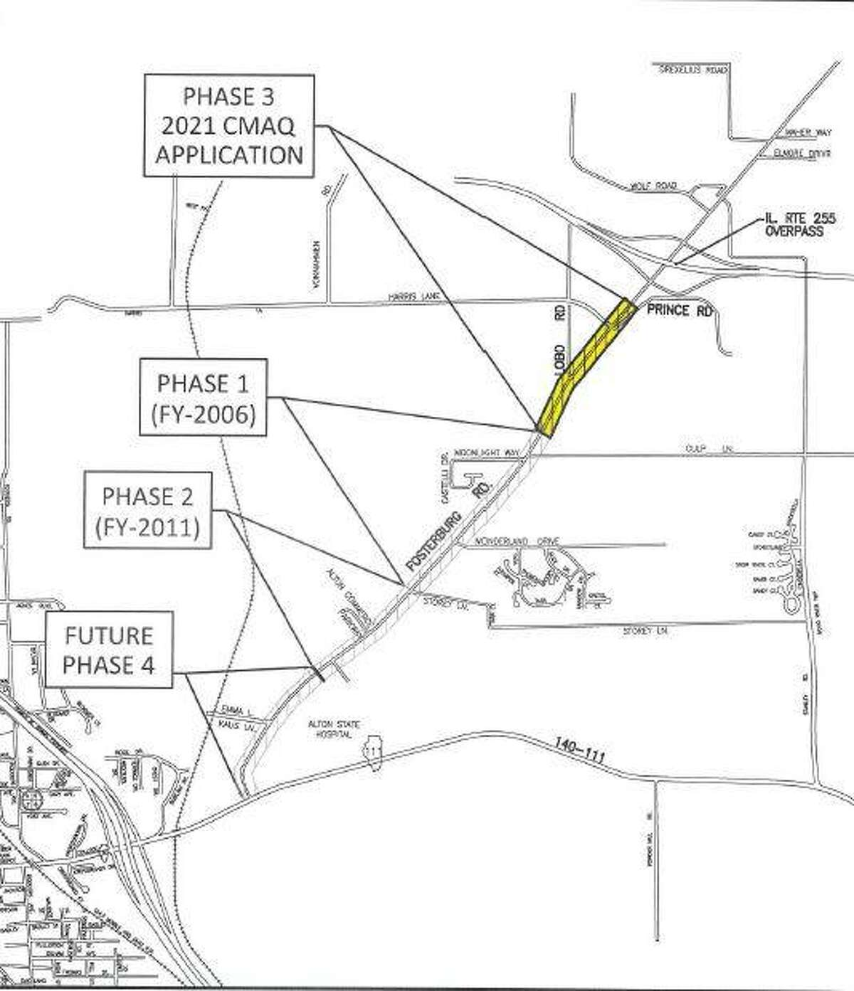 Alton officials are sharing a schematic view of planned work on Fosterburg Road. The area of construction is marked.