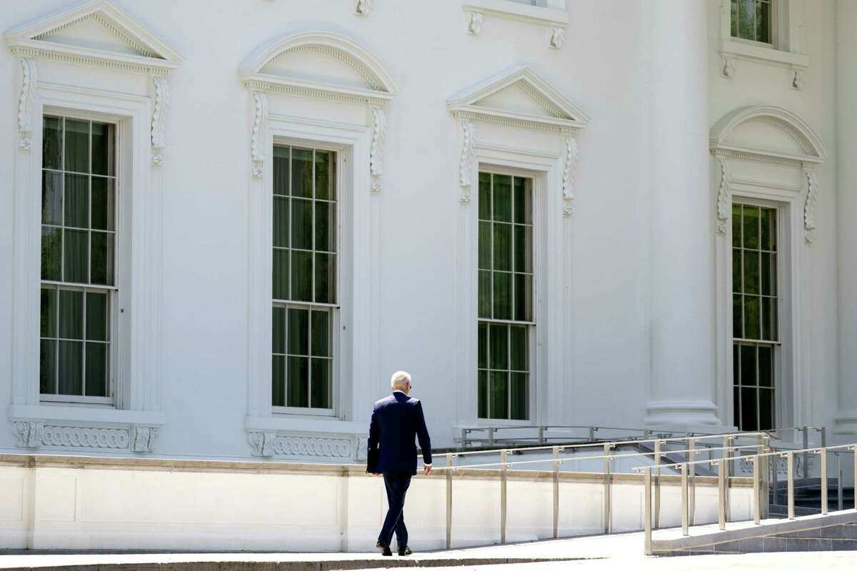 President Joe Biden departs after speaking on the North Lawn of the White House in Washington, D.C., on April 27, 2021.