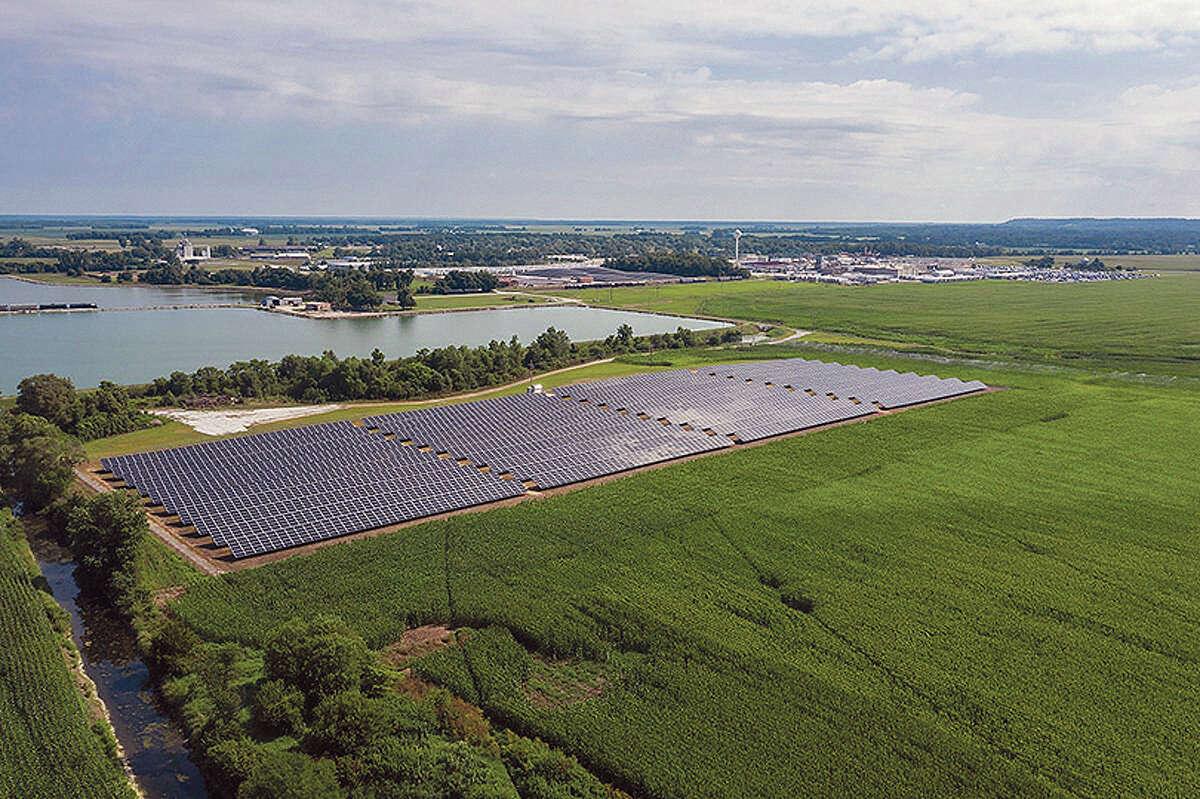 A 2.6-megawatt solar array at JBS Foods USA's pork processing plant in Beardstown.