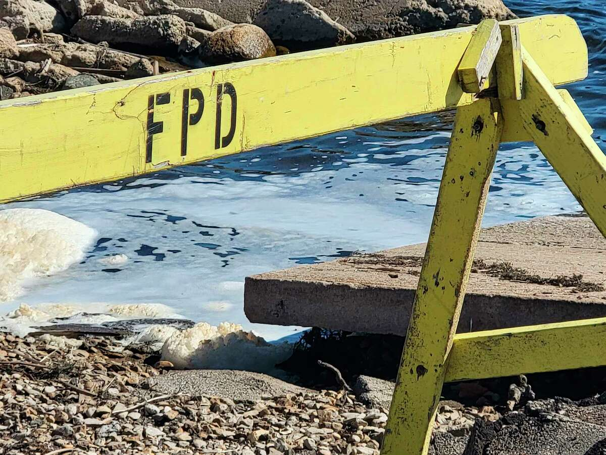 High water levels have undermined concrete pads at Frankfort's public boat launch, requiring many to be torn up and replaced. (Colin Merry/Record Patriot)