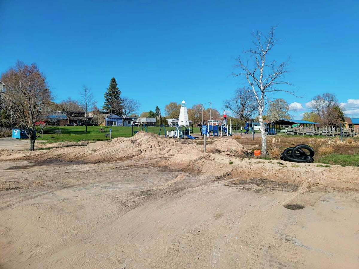 The City of Frankfort is finally able to start clearing up a parking lot and some playground equipment that has been underwater for two years. (Colin Merry/Record Patriot)