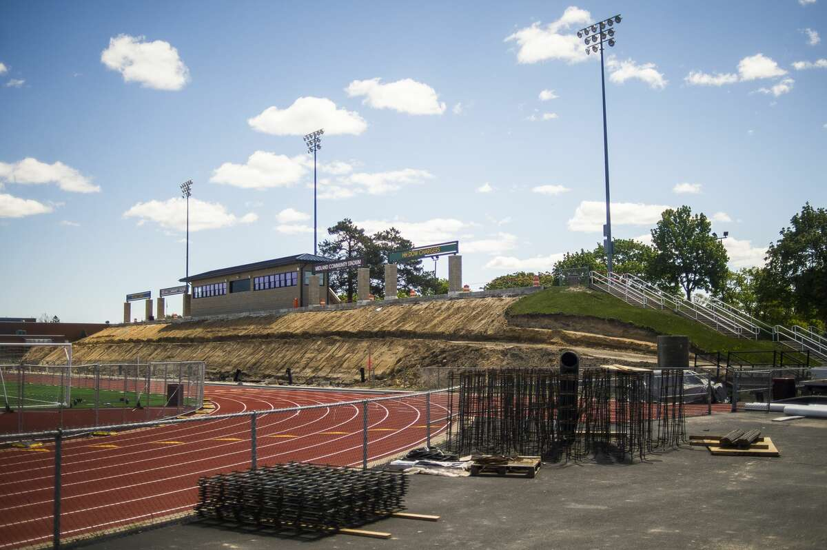 Midland Community Stadium's new bleacher project is well underway and is on schedule for a mid-August completion. Pictured Wednesday, May 12, 2021. (Katy Kildee/kkildee@mdn.net)