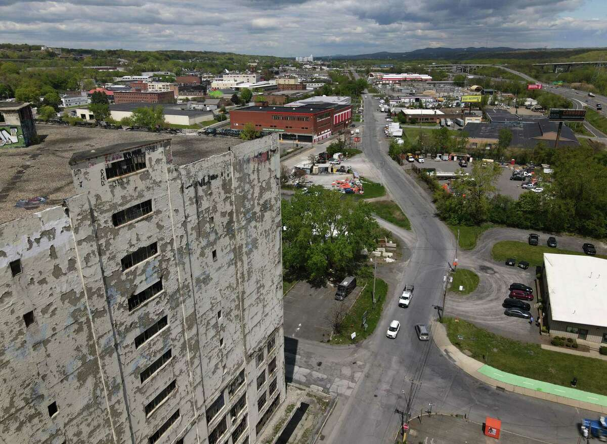 Central Warehouse is seen from above Centre Street on Wednesday, May 12, 2021, in Albany, N.Y. The county, citing more than 10 years of unpaid taxes, decided to put the building up for auction and received two bids. (Will Waldron/Times Union)