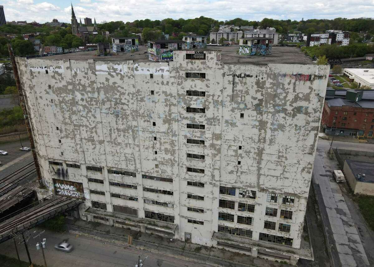 Central Warehouse is seen from above Centre Street on Wednesday, May 12, 2021, in Albany, N.Y. The county, citing more than 10 years of unpaid taxes, has decided to put the building up for auction and is already accepting bids. (Will Waldron/Times Union)