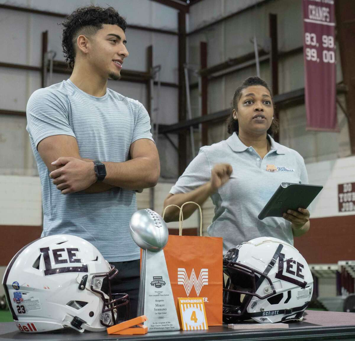 Princess Hill, with Dave Campbell's Texas Football, announces Lee High's Mikey Serrano as part of the Whataburger Super Team 05/12/2021 in the Lee High turf room. Tim Fischer/Reporter-Telegram
