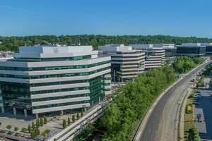 Frontier Communications has signed a new lease in the 401 building, third from left, in the approximately 1.4 million-square-foot Merritt 7 office park in Norwalk, Conn.