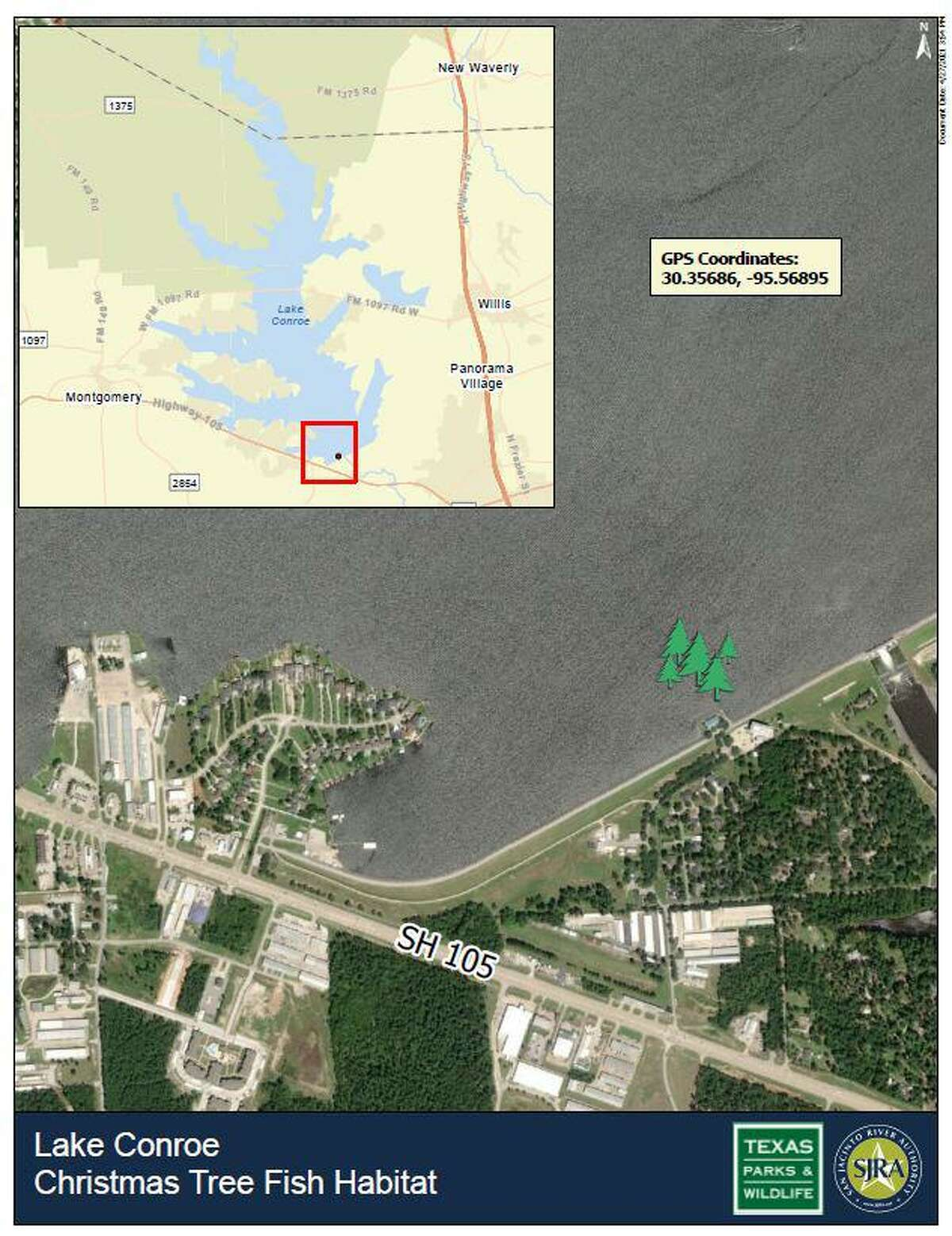 The San Jacinto River Authority and Texas Parks and Wildlife are using recycled Christmas trees, donated by residents through a Christmas Tree Drive, to create a fish habitat in Lake Conroe. The Christmas tree habitat is located at the GPS coordinates: 30.35686, -95.56895 in Lake Conroe. The trees are anchored using buoy anchors or cinder blocks.
