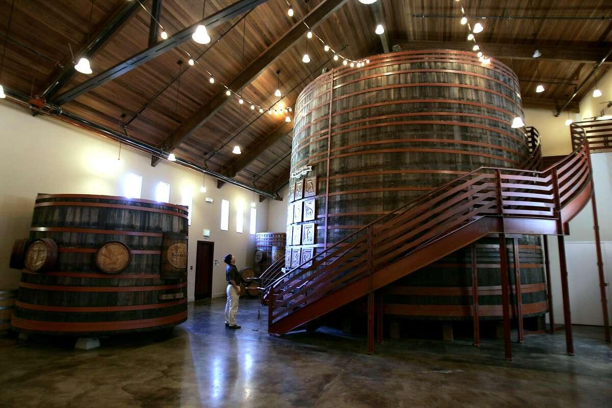 The barrel room at Sebastiani Vineyards in Sonoma, seen in 2004.