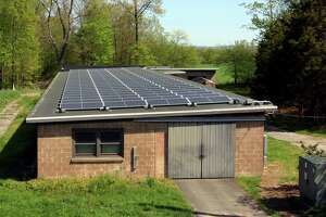 The winery at Jones Family Farm is now powered by solar panels, seen here on the roof of one of the out buildings at the farm.