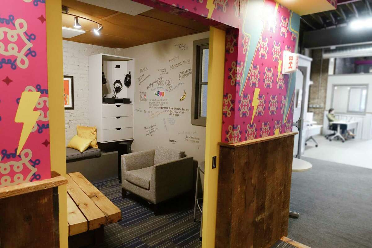 A room for recording podcasts at Troy Innovation Garage, a coworking space, on Wednesday, May 12, 2021, in Troy, N.Y. (Paul Buckowski/Times Union)