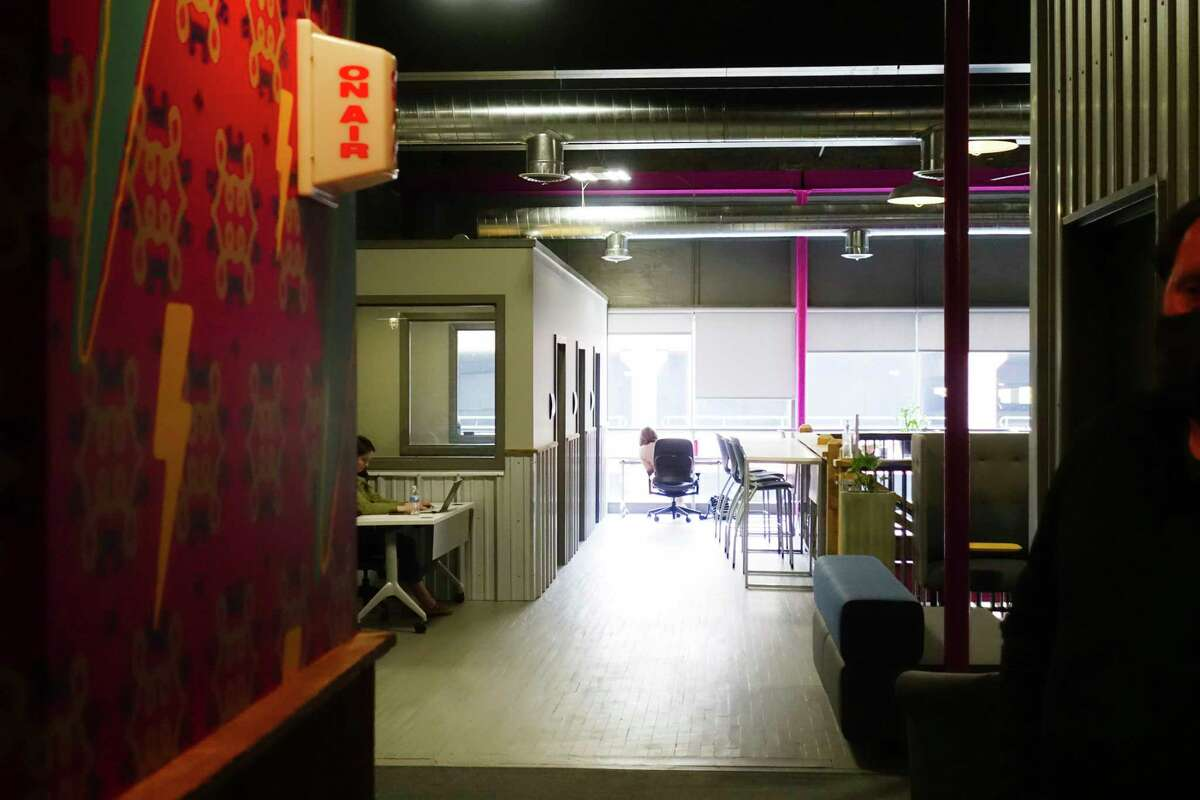 A view inside at Troy Innovation Garage, a coworking space, on Wednesday, May 12, 2021, in Troy, N.Y. (Paul Buckowski/Times Union)
