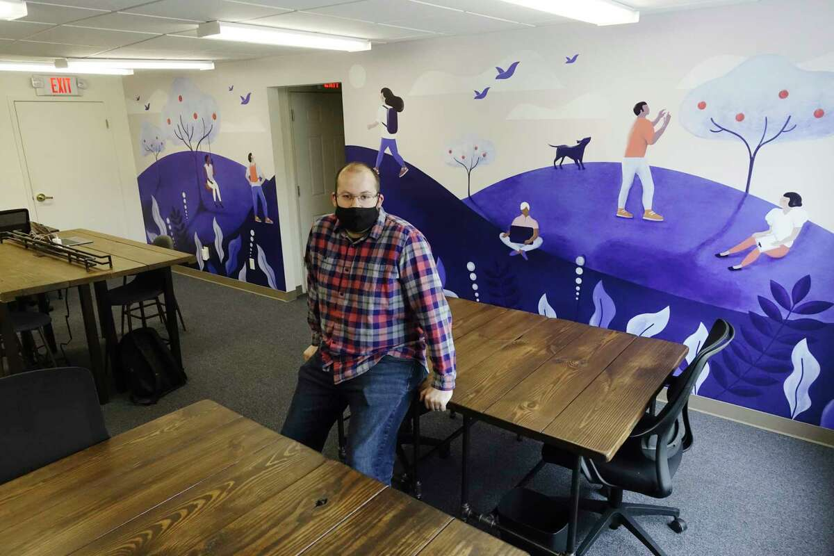 James Lewis-Van Vorst, owner of Nomad Coworks at his coworking space business on Wednesday, May 12, 2021, in Clifton Park, N.Y. Lewis-Van Vorst opened at the beginning of May. (Paul Buckowski/Times Union)