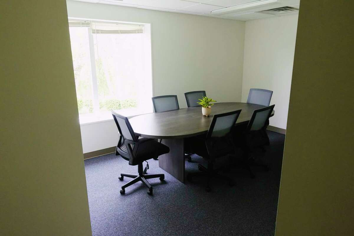 A view of the conference room inside the newly opened Nomad Coworks on Wednesday, May 12, 2021, in Clifton Park, N.Y. The coworking space was opened by owner James Lewis-Van Vorst at the beginning of May. (Paul Buckowski/Times Union)