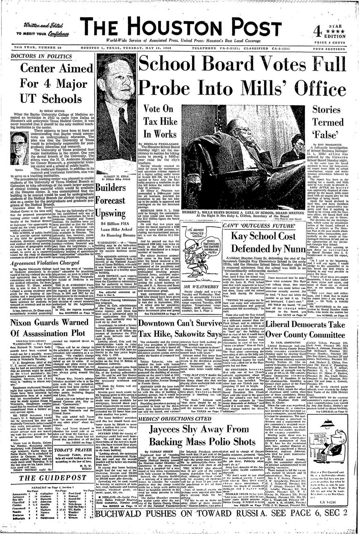 Houston Post front page from May 13, 1958.