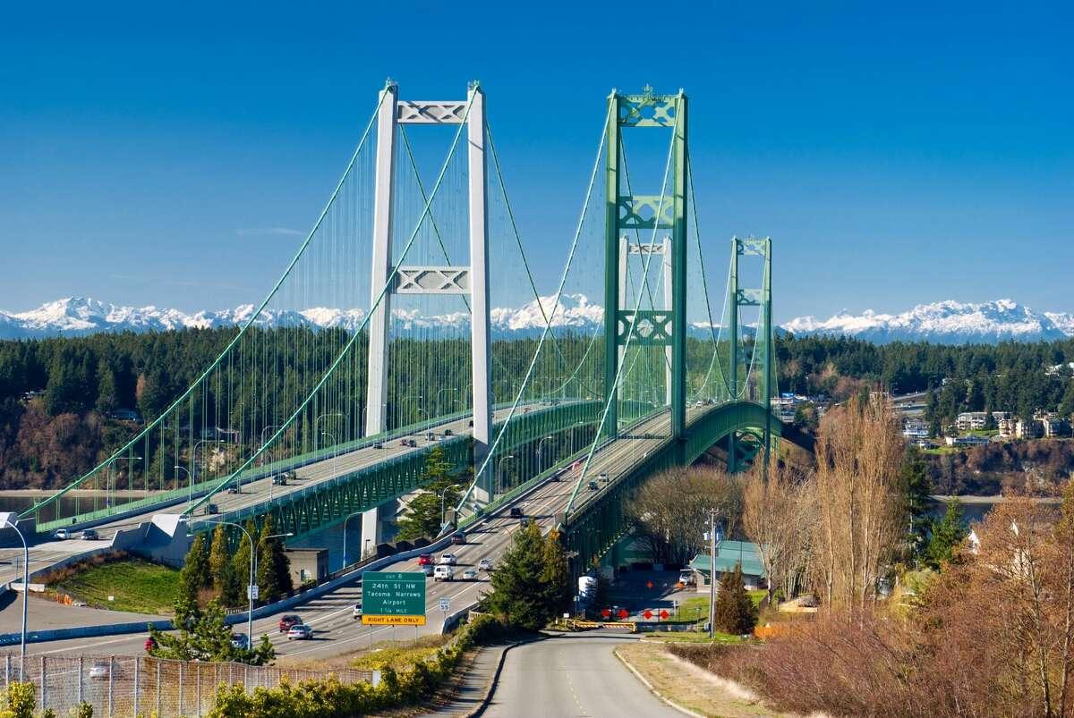 The Tacoma Narrows Bridge in Washington state linking the city of Tacoma with Gig Harbor of the Kitsap Peninsula.