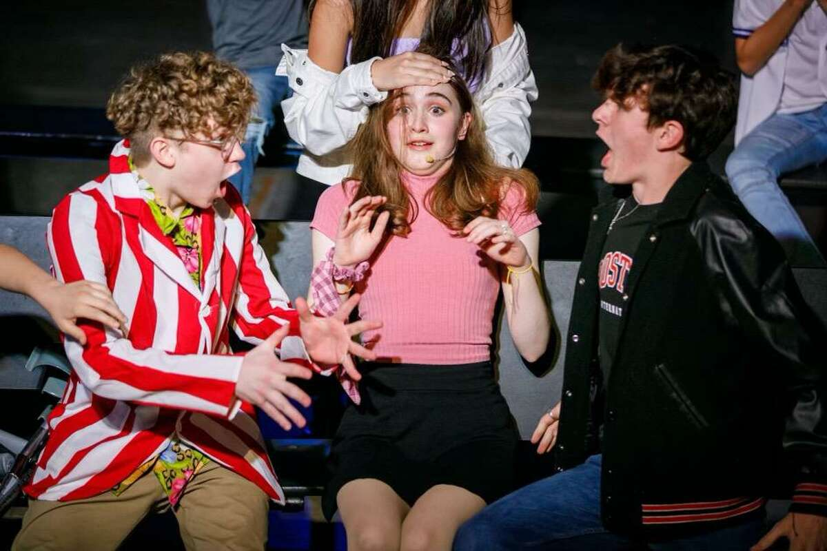 Brayden Hayes, from left, Jane Delahoussaye, and Patrick Cashion perform in Inspiration Stage's production of 13: The Musical in Stafford.