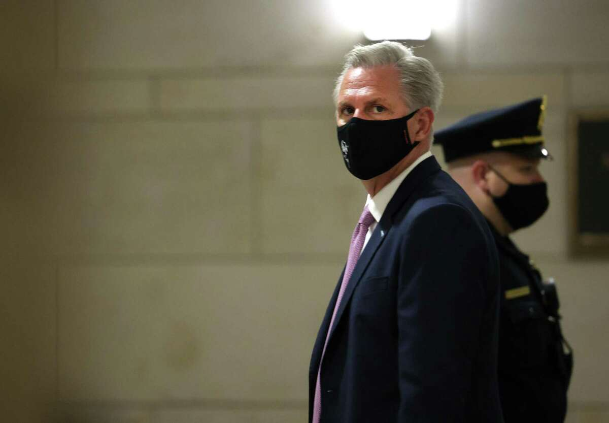 WASHINGTON, DC - MAY 12: House Majority Leader Kevin McCarthy (R-CA) leaves a Republican House caucus meeting where the Republicans voted to remote Rep. Liz Cheney (R-WY) of her leadership role, at the U.S. Capitol on on May 12, 2021 in Washington, DC. GOP members removed Conference Chair Liz Cheney (R-WY) from her leadership position after she became a target for former President Donald Trump and his followers in the House as she has continually expressed the need for the Republican Party to separate themselves from Trump over his role in the January 6 attack on the Capitol. (Photo by Kevin Dietsch/Getty Images)
