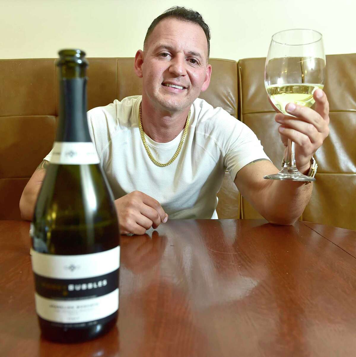 Michael Del Vecchio, brand manager and partner for the Connecticut sales of Honey Bubbles sparkling moscato wine
