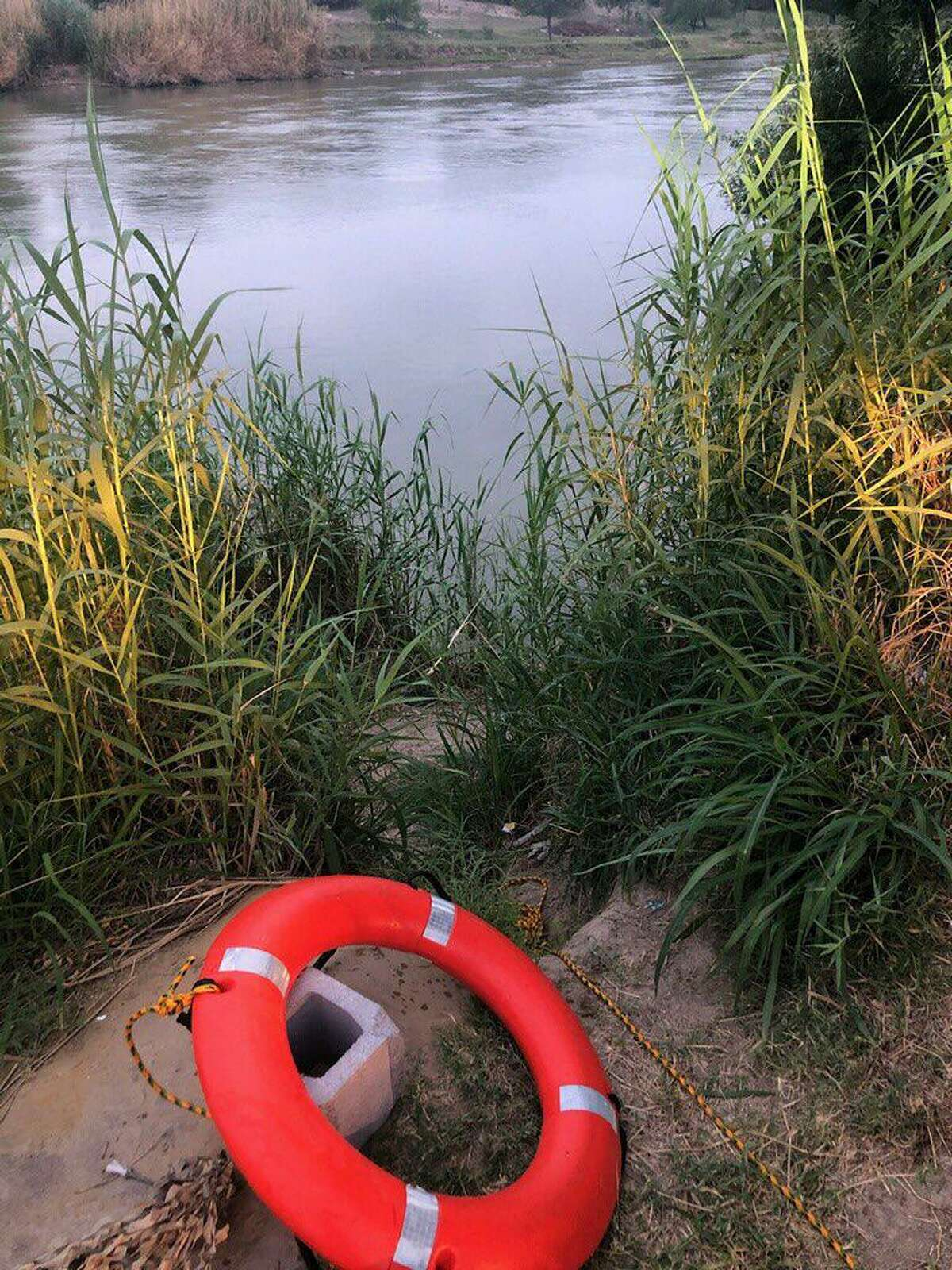 U.S. Army soldiers and U.S. Border Patrol agents rescued two migrants from drowning at the Rio Grande around this area by Chacon Creek.