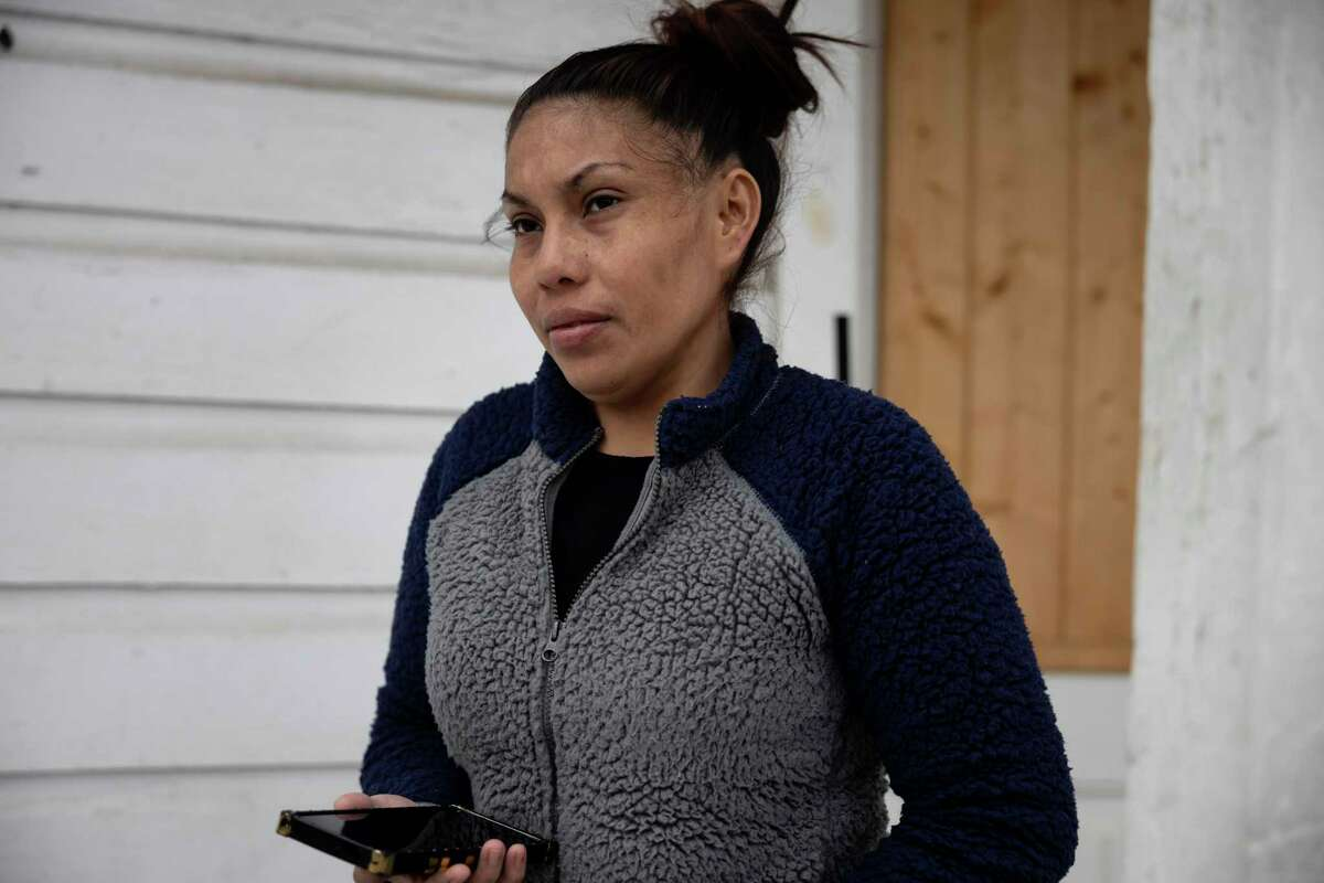 Maria Pineda recalls her son's excitement as he played in the snow for the first time, Thursday, Feb. 18, 2021, in Conroe. Pineda moved from Honduras to Conroe two years ago with her son Cristian Pavon Pineda, where she worked as a housekeeper as he attended Bozman Intermediate School.