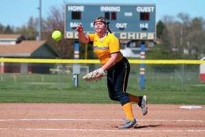 Manistee's Annika Arendt struck out 10 batters during the Chippewas' split with Orchard View on Tuesday. (News Advocate file photo)