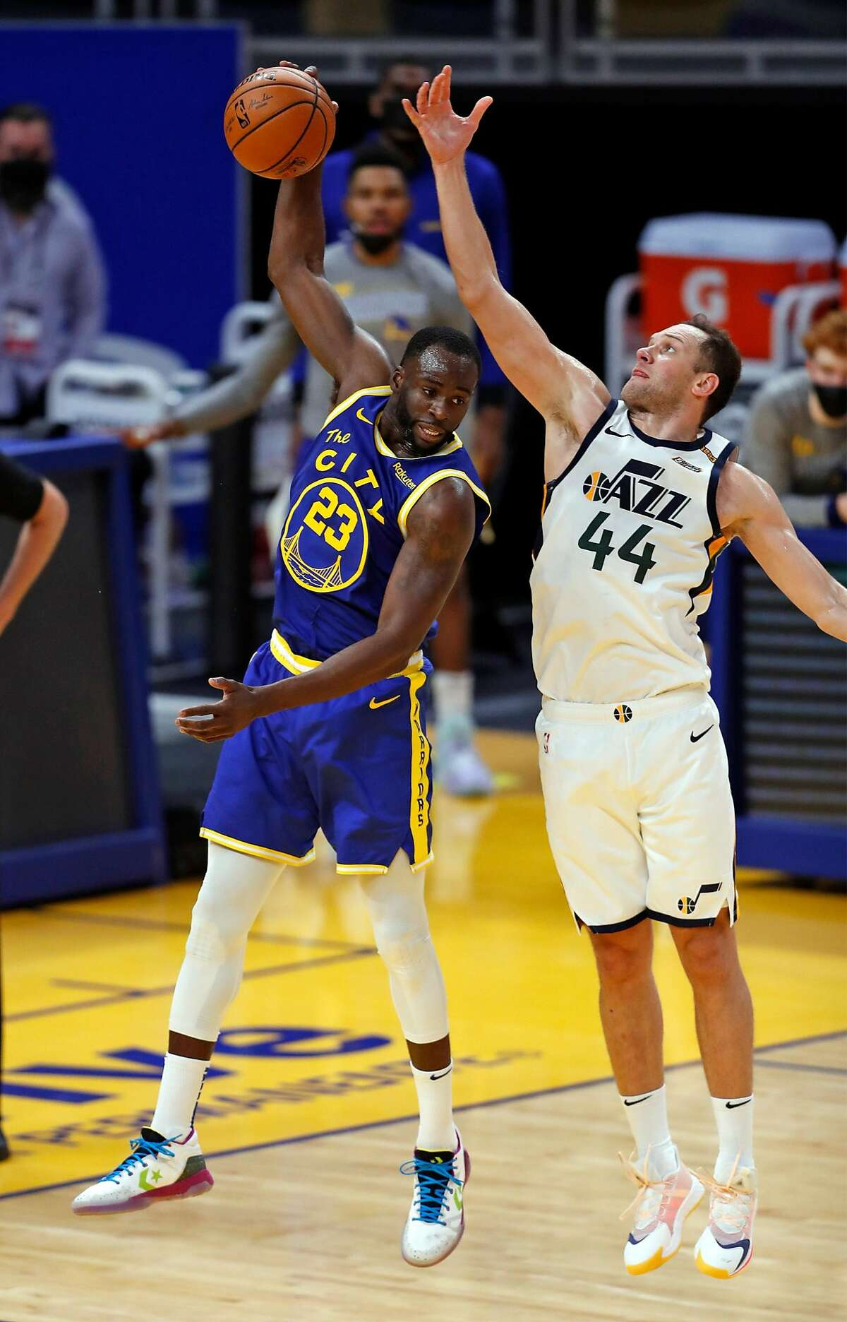 Golden State Warriors' Draymond Green out rebounds Utah Jazz' Bojan Bogdanovic� in 2nd quarter during NBA game at Chase Center in San Francisco, Calif., on Sunday, March 14, 2021.