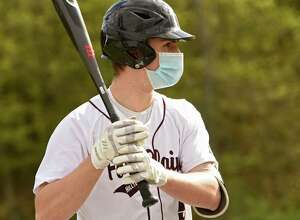 Fort Plain baseball player Troy Butler is seen watching the pitches while on deck during a game against Duanesburg on Monday, May 10, 2021 in Delanson, N.Y. (Lori Van Buren/Times Union)