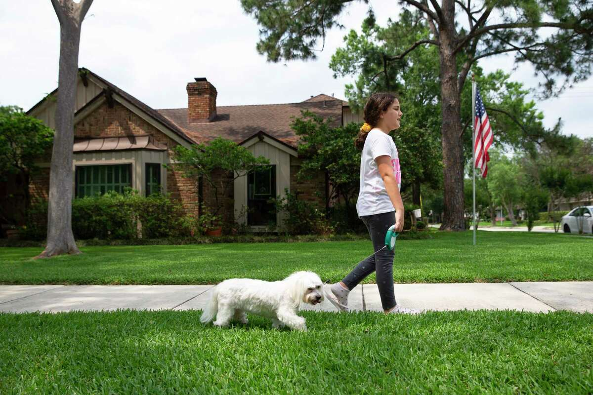 Maya Stanton, 10, walks her dog, Abbey Road, after school on Tuesday, May 4, 2021, in Houston. Maya and her twin brother Max, both walk their dogs as an after school chore.