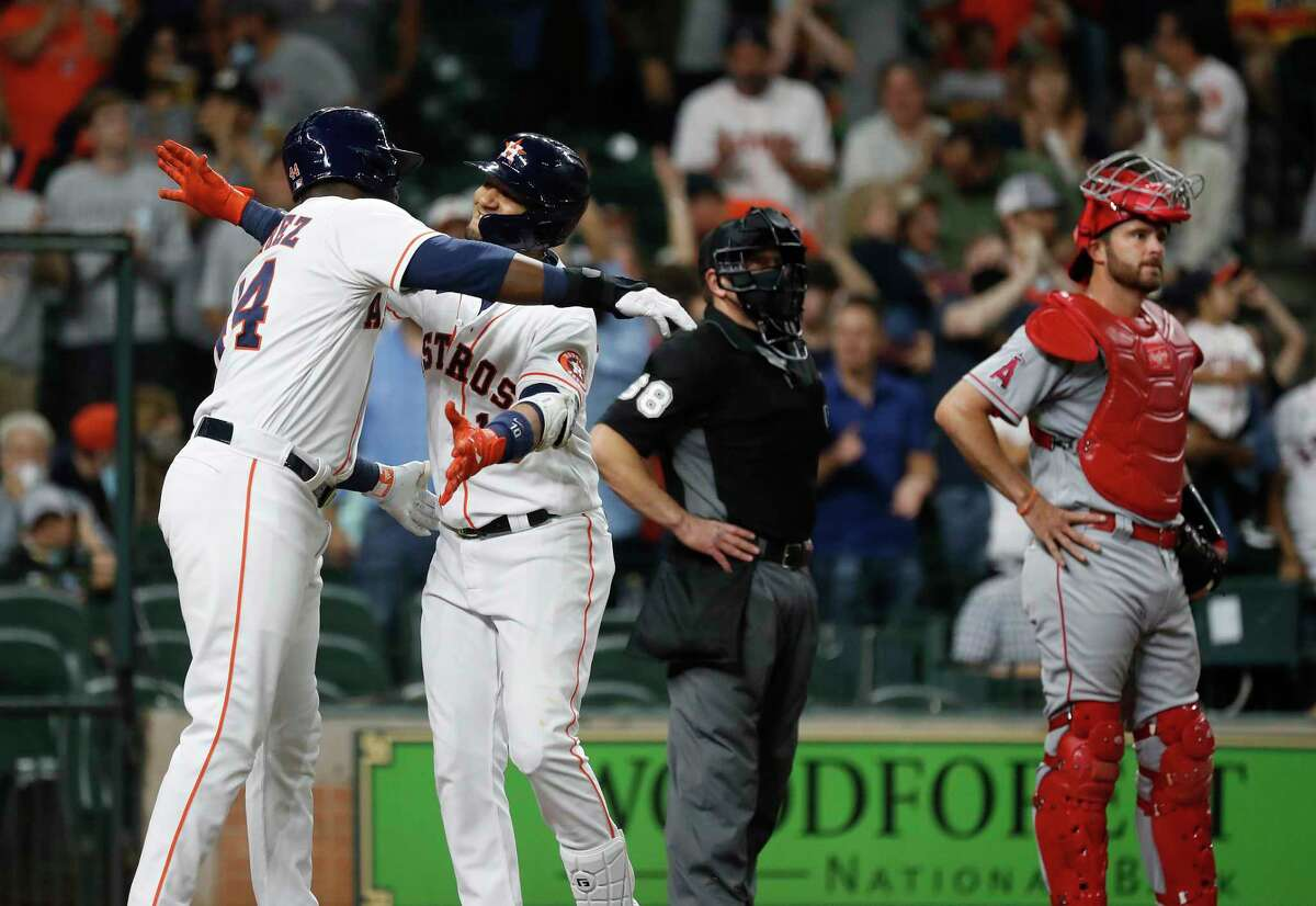 Yordan Alvarez (left) and Yuli Gurriel remained out of the Astros' lineup for Sunday's series finale against the Padres at Minute Maid Park.