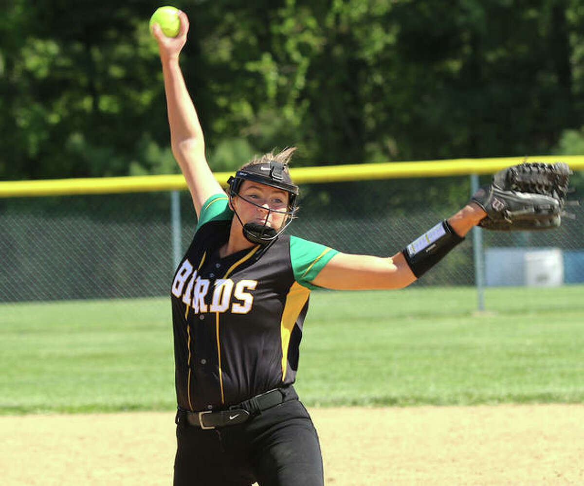 Southwestern pitcher Sydney Baumgartner throws to the plate against Edwardsville on Wednesday in Piasa.