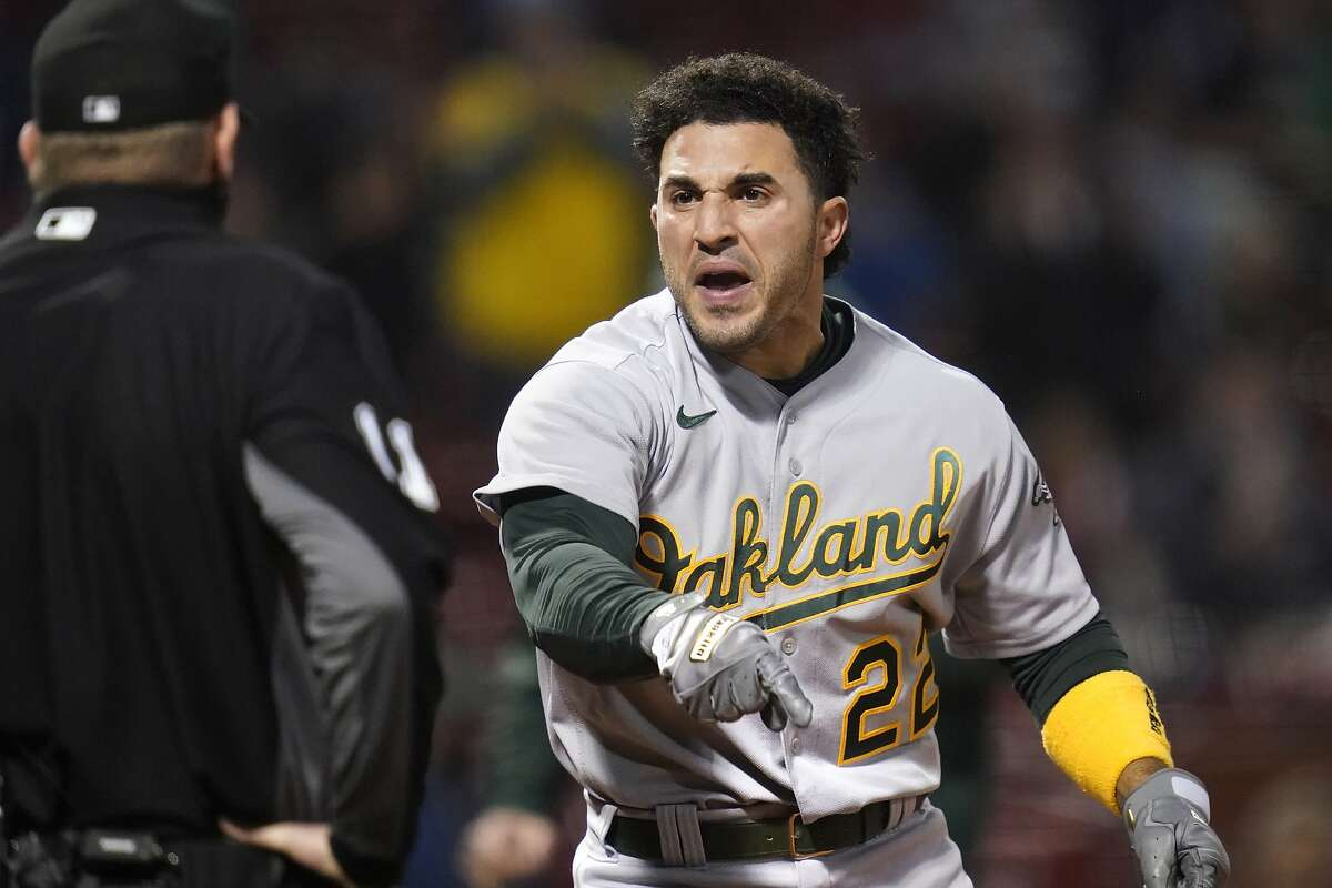 The A's Ramon Laureano was ejected in the third inning after being called out on strikes by home plate umpire Ryan Wills.