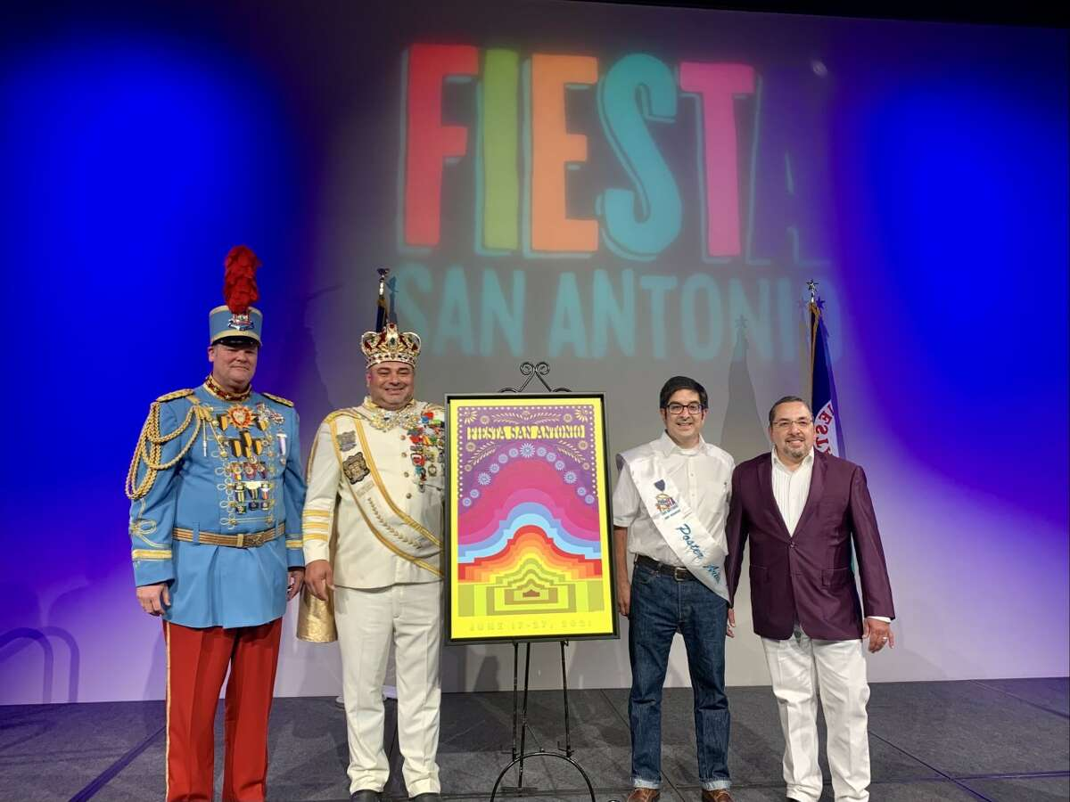 The Fiesta Commission debuted the artwork Wednesday night, 36 days ahead of San Antonio's largest party. This year's poster was designed by Andy Benavides, a native of San Antonio's South Side.
