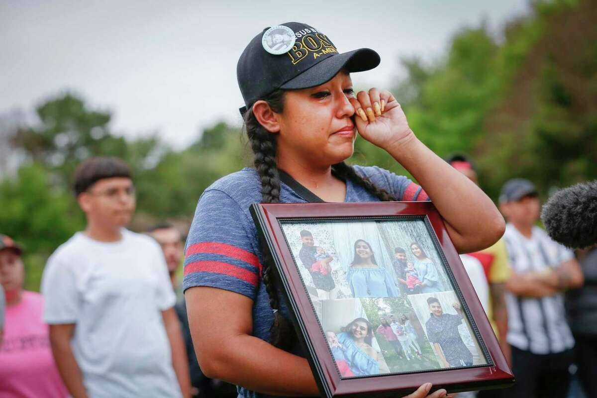 Ashley Hernandez becomes overwhelmed with emotion as she spoke about her sister, Erica Hernandez, during a press conference at the site where her body was found in a submerged SUV Wednesday, May 12, 2021, in Pearland.