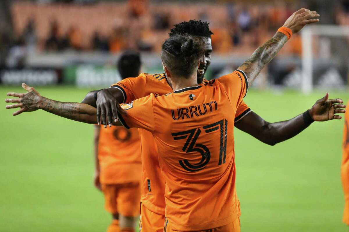 Houston Dynamo forward Maximiliano Urruti (37) celebrates his game-winning goal against Sporting Kansas City during the second half of an MLS soccer match on Wednesday, May 12, 2021, in Houston. Dynamo FC won the game 1-0.
